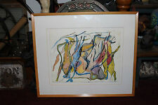 Interesting Abstract Water Color Painting-Acrobats Flipping-Unusual Painting