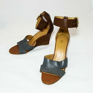 Nine West Nwchekmayt Grey Tan Wooden Wedge Ankle Strap Leather Upper Size 6M