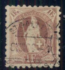SWITZERLAND #93 1fr claret, p. 9 ½ , used, VF Scott $110.00