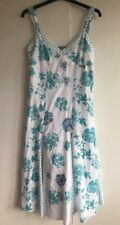 Marks & Spencer Per Una Ladies Size 8r Cotton Dress White With Turquoise Flowers