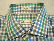 Peter Millar Cotton Blue / Green / Grey Gingham Check Sport Shirt NWT Large $145