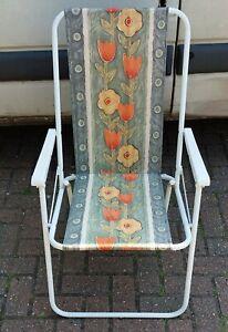 Vintage retro Floral Garden Folding Deckchair with Arms
