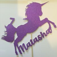 CUSTOM Cake Topper Unicorn ANY NAME & AGE Purple Glitter FREE UK P&P