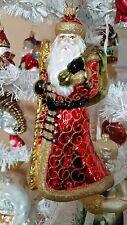 Santa Septer Bag Red & Gold Blown Glass Christmas Tree Ornament Poland 020069