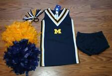 DELUXE POM POMS CHEERLEADER OUTFIT UNIFORM MICHIGAN WOLVERINES U OF M DRESS 4T