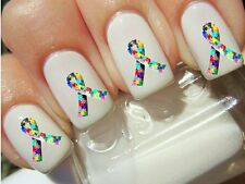 BRIGHT AUTISM AWARENESS MULTICOLOR PUZZLE RIBBON LOGO》Tattoo Nail Art Decals