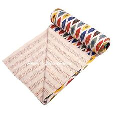 Indian Quilt Blanket Queen Cotton Printed Bed Cover Ikat Kantha Quilts