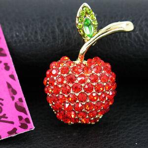 NEW! Betsey Johnson red Crystal Rhinestone Apple Pendant Brooch Pin