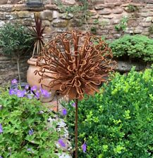 Rusty Metal Allium 99 Flower Garden Stake, Rustic Wire Climbing Plant Support