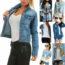 Womens Lady Denim Jacket Jeans Stretch Slim Fit Button Jacket Coat Plus Size UK