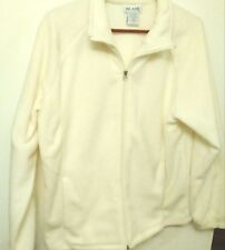 Womens Fleece Jacket Blair Off-White Zip Front Large