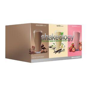 SHAKEOLOGY Triple combo Chocolate Strawberry Vanilla 24 Packets Variety Pack