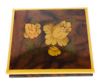 Vintage Reuge Edelweiss West Germany Wood Floral Inlay Swiss Movement Music Box