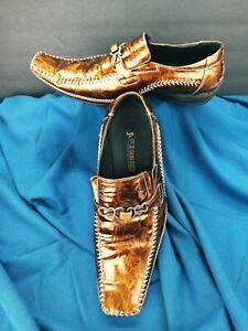 Aurelio Garcia Fiesso Square Toe Gold FI-8068 Leather Dress Loafers Men's 11