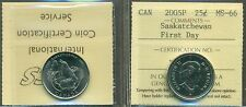 2005P Canada 25-cent Saskatchewan; First Day ICCS MS-66