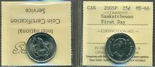 2005P Canada 25-cent Saskatchewan; First Day ICCS MS-66