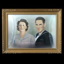1940s Canadian Portrait of a Couple in a Gold Bubble Frame Original Painting
