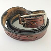 "Hand-Tooled 49"" Brown Genuine Leather Men's Belt Handmade Snap on Buckle"