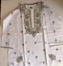 Tunic kurta casual blouse long sleeve Hand Embroidery 100% cotton XXL Size New