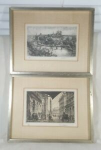 Antique French Etched Engraving Print DALLEMAONE Set-2 Ink Drawing Framed Rare