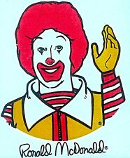 Vintage 70s Ronald Mc Donald Iron-On Transfer McDonald's Super Rare!