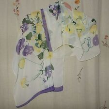 Purple, Yellow, & Pine Green Abstract Floral on White Background, Oblong Scarf