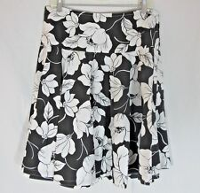 Black White Hawaiian Floral Print Flare Skirt Handmade Medium