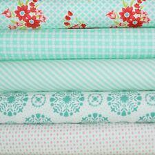 Handmade 5 Aqua Fabric Fat Quarters by Bonnie & Camille for Moda, 1.25 yards tot