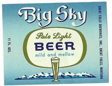 Big Sky Pale Light Beer Label, Non-Irtp, Great Falls Breweries, Great Falls, Mt