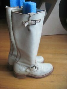 VINTAGE WOMEN'S FRYE ENGINEER 15R LEATHER BOOTS 77555 SIZE 6 ~POWDER BLUE~