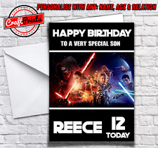 Star Wars Personalised Birthday Card Add Name, Age & Relation