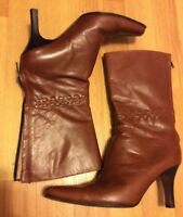 J CREW BROWN ALL LEATHER HEEL CALF BOOTS 6.5 M MADE IN ITALY