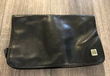 LANVIN PARIS Vintage Genuine Leather Black Clutch Travel Toiletry Bag -Italy