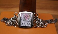 """Women's Ed Hardy """"Lynx Orchid"""" Swarovski Crystal Watch Chain Link Band LY-OR4780"""