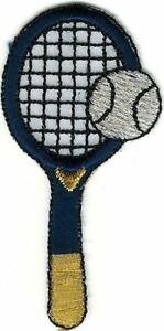 Blue Gold Tennis Racquet Racket Ball Embroidery Patch