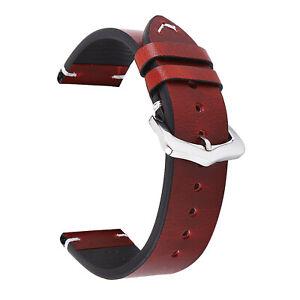 18 19 20 21 22 24mm Retro Handmade Genuine Leather Wrist Band Watch Strap Belts