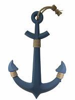 Wooden Hanging Anchor Wall Décor Large Blue Sculpture Ship Captain Nautical Sea