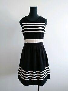 Madewell Black White Stripes Fit And Flare A line Dress Size sleeveless S AU 8