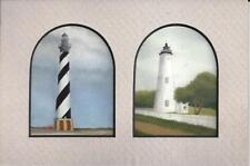 Obx Hatteras & Ocracoke Lighthouses Nc Matted Hand Colorized Drawing Marion Hall