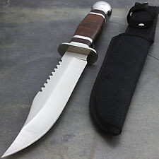 "10"" CHERRY WOOD HANDLE HUNTING KNIFE w/ SHEATH Bowie Survival Skinning Blade"