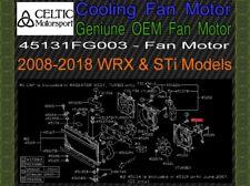 Genuine OEM Subaru Cooling Fan Motor 2008-2018 Impreza WRX & STi Models New
