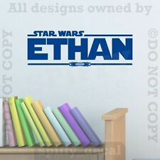 Star Wars Dual Lightsaber Personalized Custom Name Quote Vinyl Wall Decal Jedi