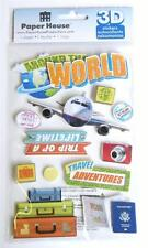 WORLD TRAVEL Scrapbook 3D Stickers Glitter Vaction Plane Scrapbook Planner PHP