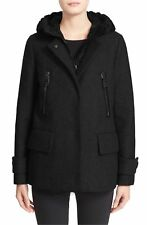 Moncler Euphemia Wool Blend Black Jacket Hooded Puffer Vest Size 4 / 8-10 US.