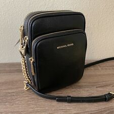 Michael Kors Jet Set Medium Pebbled Leather Crossbody Purse Bag NWT Black