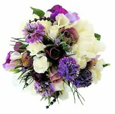 Silk Bridesmaids Bouquet Peony Lavender Rosebuds with Buttonhole Wedding Flowers