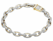 Men's Cubic Zirconium Stone Hermes Rolo Link Bracelet In 10K Yellow Gold Over