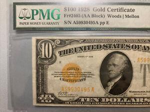 1928 $10 Gold Certificate Scarce Fr.2400 PMG 35 Holder Has Error Fr.2405 $100