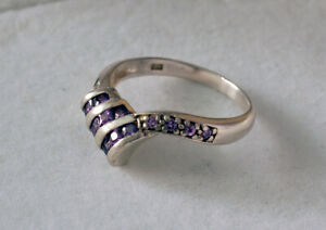 Sterling silver 925 artist ring amethyst fine jewelry gem stone violet gift