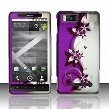 Design Rubberized Hard Case for Motorola Droid X MB810 - Purple Silver Vine
